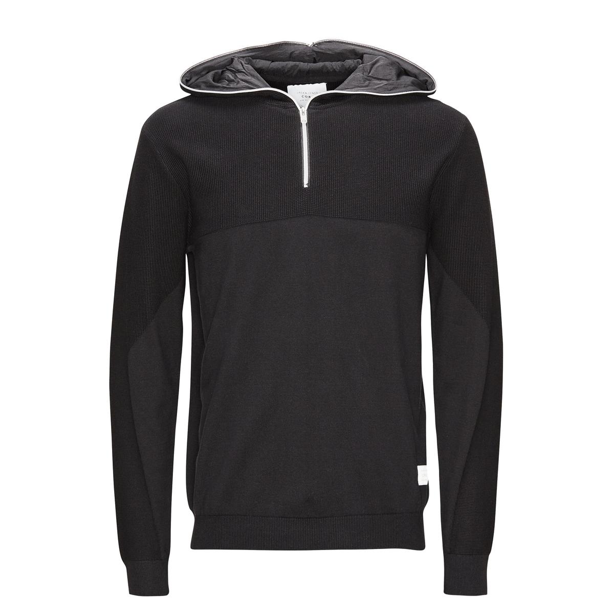 Пуловер с капюшономСостав и описаниеМатериал: 100% хлопок.Марка: JACK &amp; JONES.<br><br>Цвет: черный<br>Размер: L