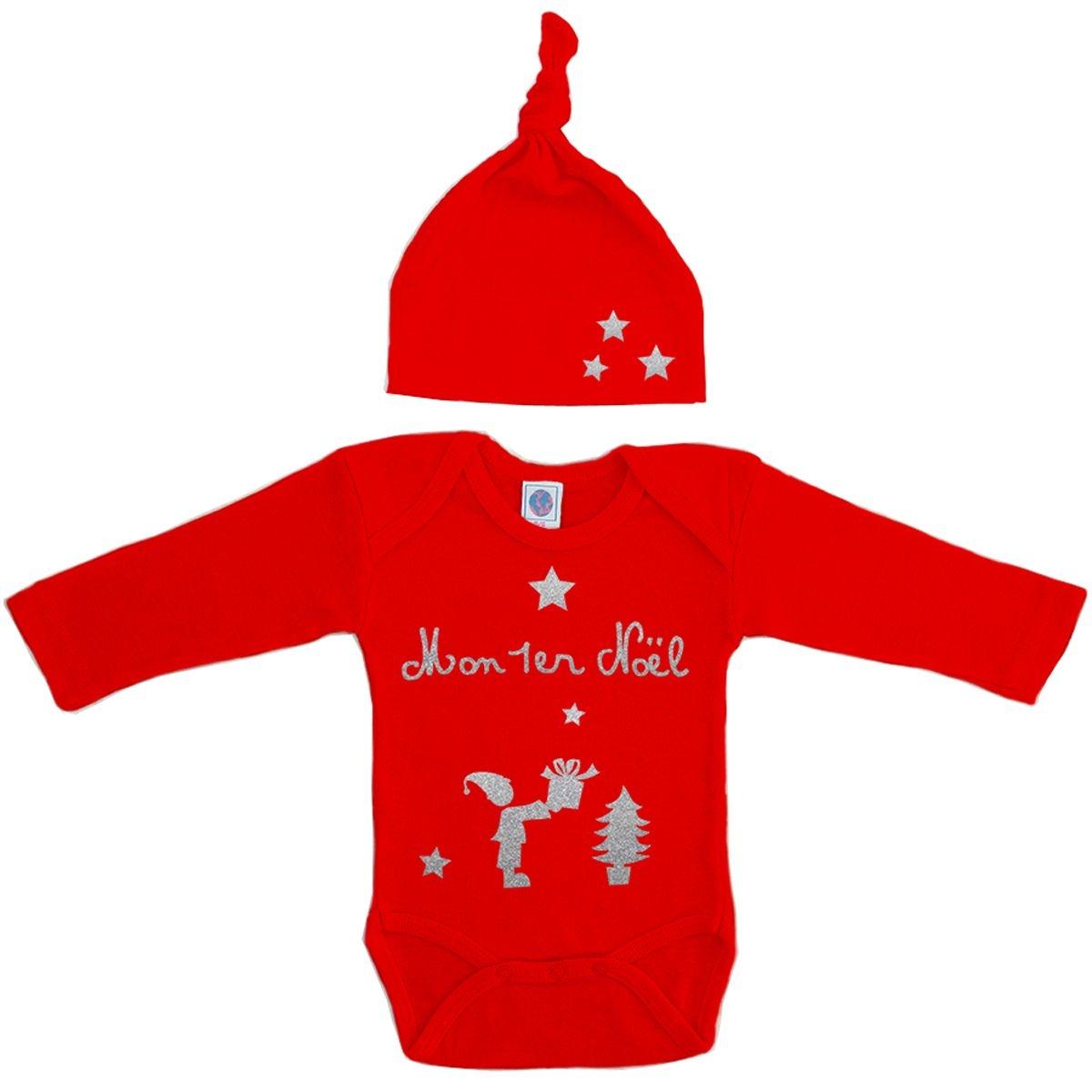 Kit body et bonnet bébé Noël coton manche longues rouge