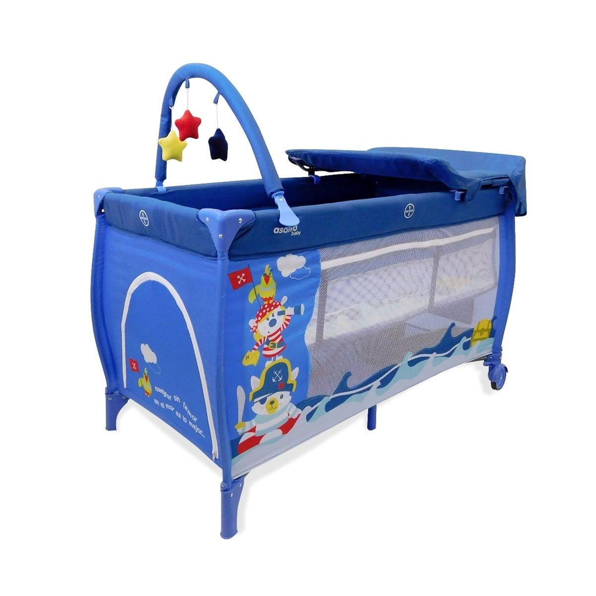 Lit pliant Baby Fox collection 'aventure' avec rehausseur, table à langer et arche - bleu