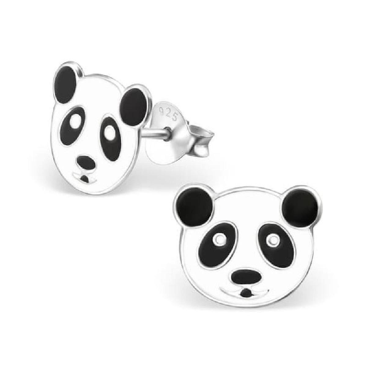 Boucles d'oreilles Tête Panda Noir & Blanc Argent 925