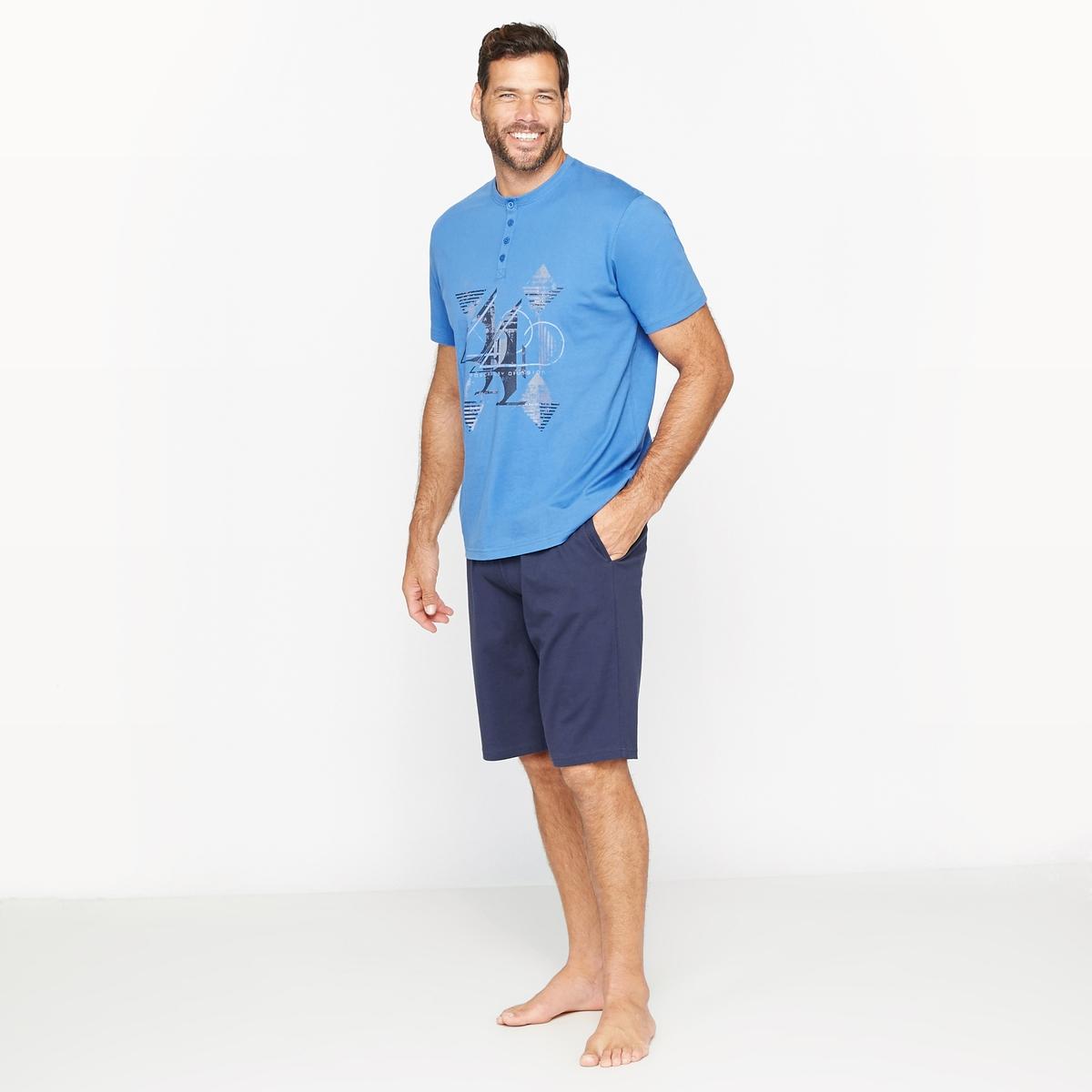 Пижама с шортами с круглым вырезом с разрезом спереди и рисунком