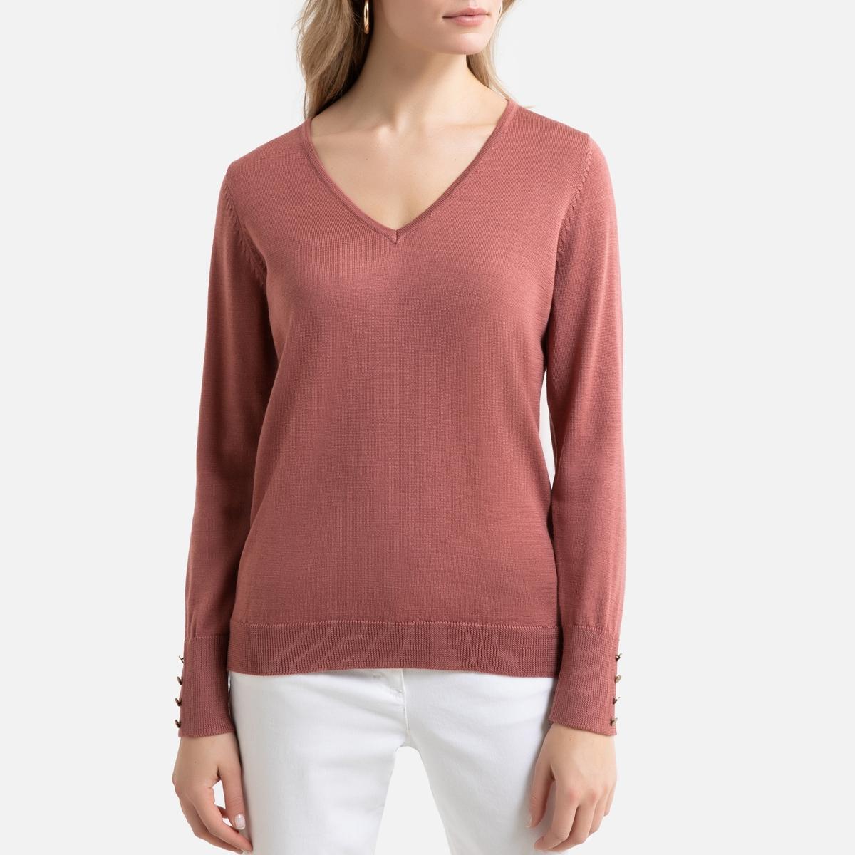 Пуловер La Redoute С V-образным вырезом из полушерстяного тонкого трикотажа 38/40 (FR) - 44/46 (RUS) розовый пуловер la redoute с капюшоном из тонкого трикотажа 42 44 fr 48 50 rus красный