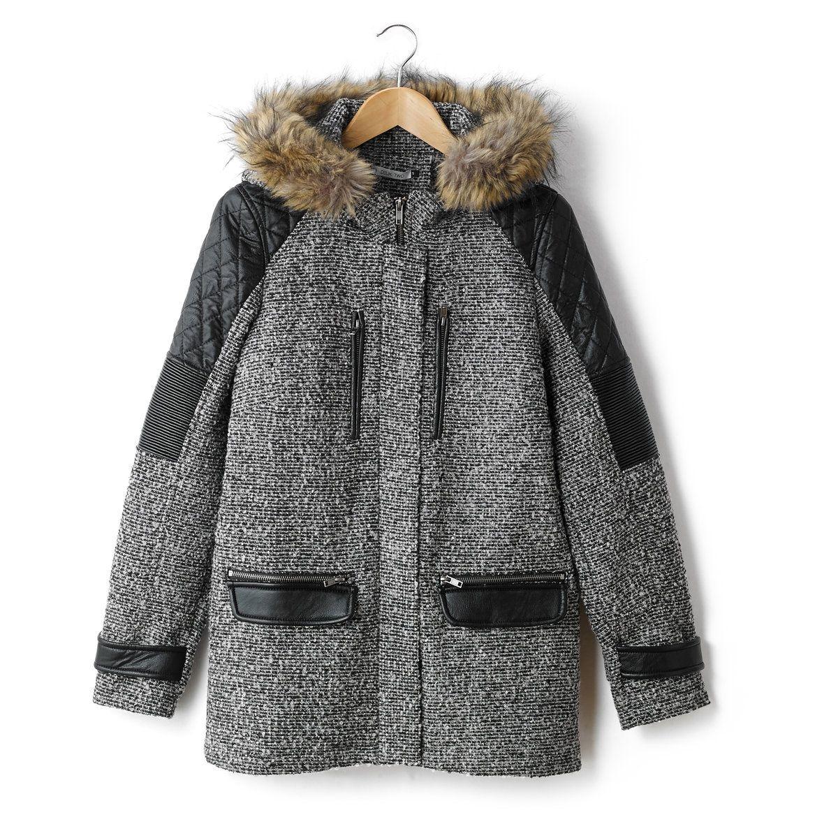 Manteau bi-matière Hikys, capuche avec fausse four