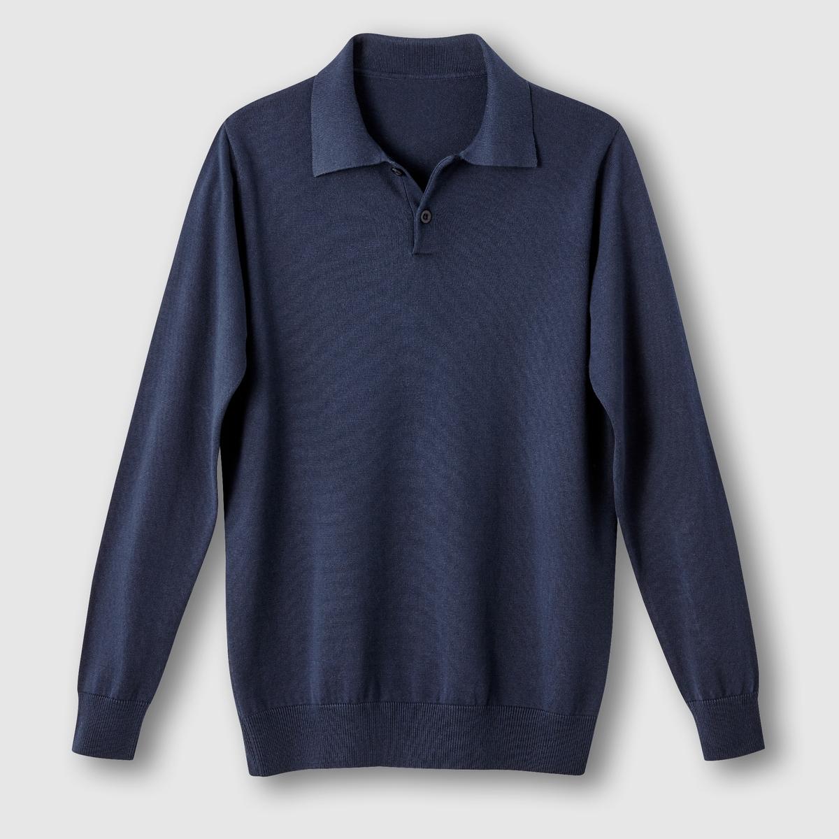 Пуловер с воротником полоПуловер с воротником поло. Длинные рукава. Контрастные нашивки на локтях.Края низа и рукавов связаны резинкой. Трикотаж мелкой вязки, 100% хлопка. Длина: 73 см.<br><br>Цвет: темно-синий