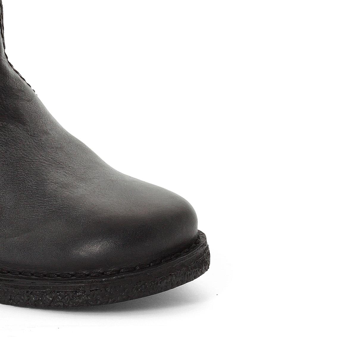 Ботильоны из двух материалов LexyВерх : кожа   Подкладка : без подкладки   Стелька : невыделанная кожа   Подошва : каучук   Высота каблука : 2 см    Застежка : молния<br><br>Цвет: черный