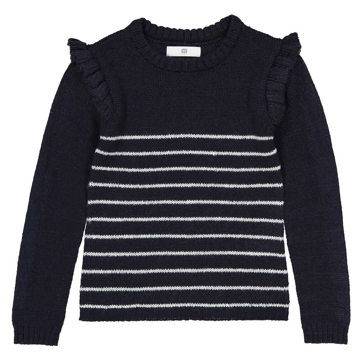 Пуловер в полоску с воланами 3-12 лет