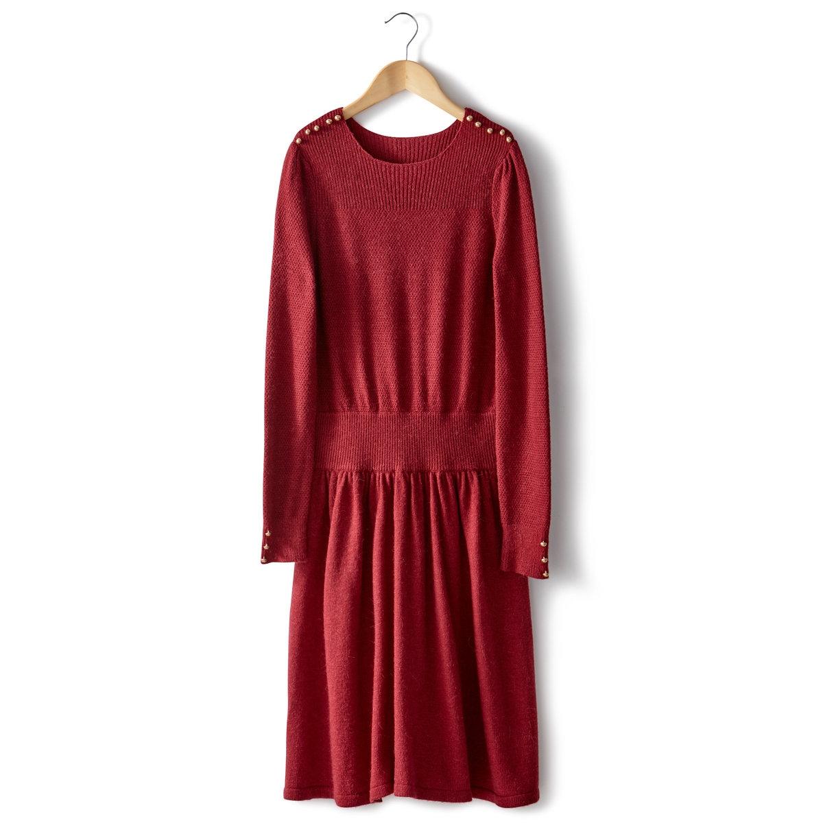 Платье из трикотажаПлатье из трикотажа: 50% полиамида, 45% вискозы, 5% шерсти альпаки. Трикотаж с точечным узором над поясом. Присборенная талия. Длинные рукава. Верх рукавов со складками. Вырез, манжеты и пояс связаны резинкой. Декоративные пуговицы золотистого цвета на плечах и манжетах. Длина миди 97 см.<br><br>Цвет: темно-красный<br>Размер: 42/44 (FR) - 48/50 (RUS)