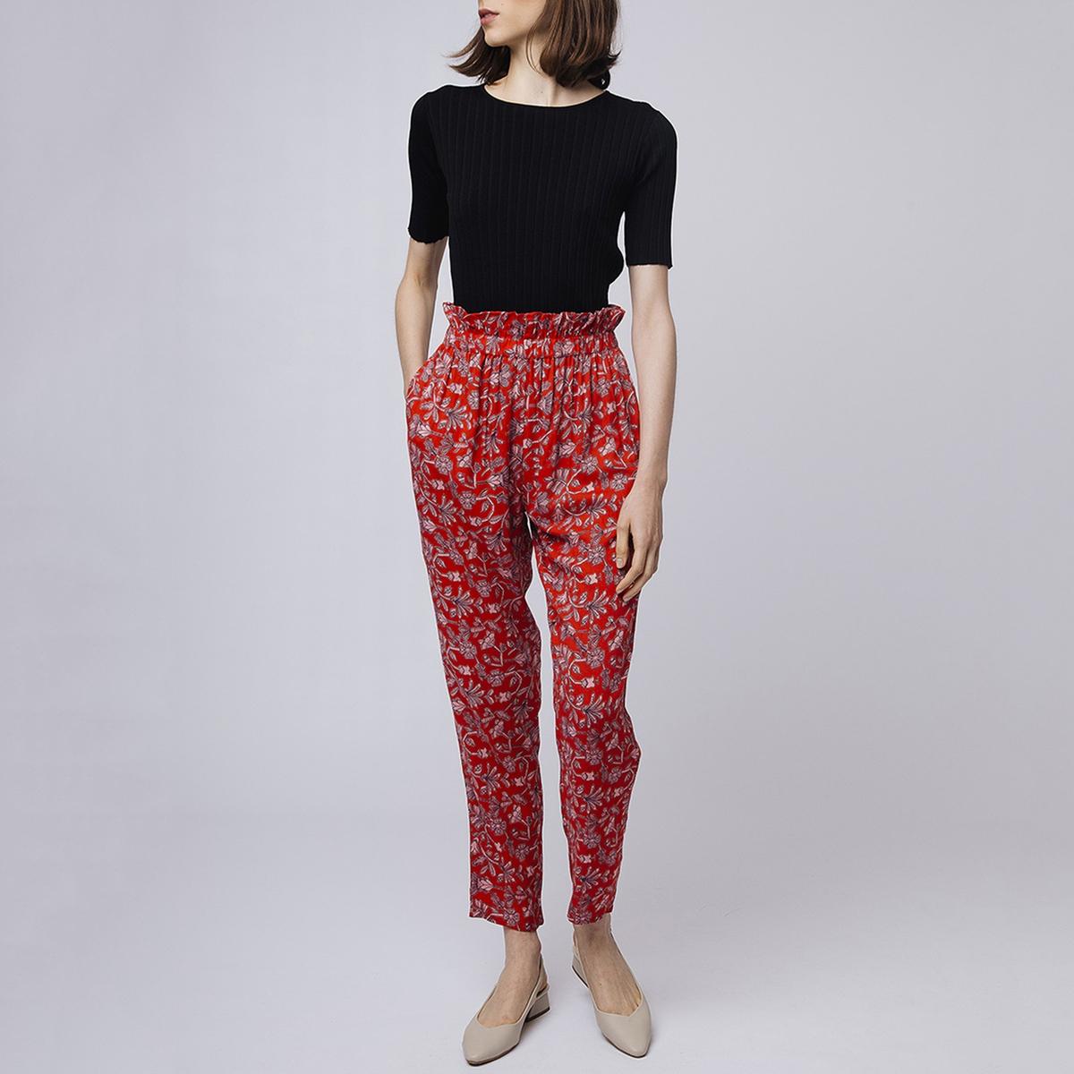 Брюки La Redoute Широкие с завышенной талией и стилизованным рисунком M красный юбка la redoute короткая с завышенной талией и цветочным рисунком xs зеленый
