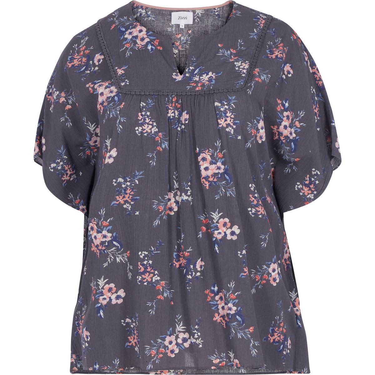 Блузка<br><br>Цвет: набивной рисунок,розовый<br>Размер: 54/56 (FR) - 60/62 (RUS).42/44 (FR) - 48/50 (RUS)