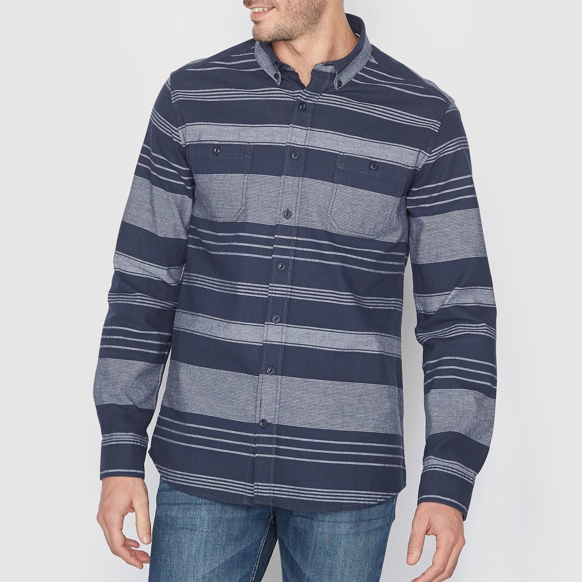 Рубашка в полоскуСостав и описание Материал : 100% хлопкаДлина : 77,5 смМарка : SOFT GREY.УходМашинная стирка при 30°C<br><br>Цвет: темно-синий в полоску<br>Размер: 47/48