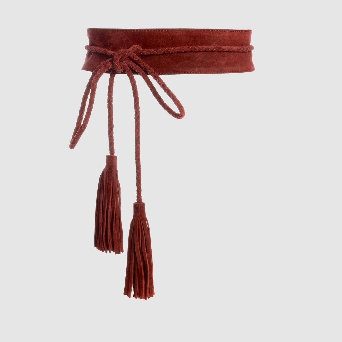 Ремень с помпонами и бахромойРемень с помпонами и бахромой, R Studio .Очень стильная отделка помпонами и бахромой, мягкий и очень женственный материал: Пояс для юбки или блузки, придающий модный штрих . Состав и описаниеМатериал невыделанная кожа Марка R StudioРазмеры : 6     см    Застежка : на завязках<br><br>Цвет: бордовый<br>Размер: 90 см