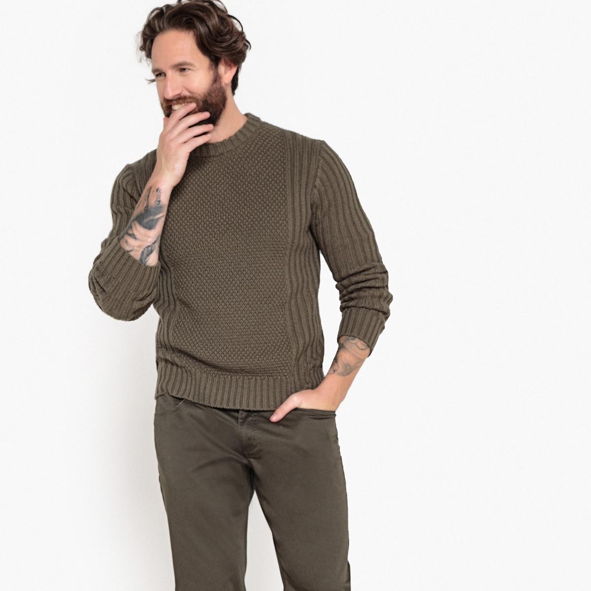 Пуловер La Redoute С круглым вырезом из плотного трикотажа 3XL зеленый пуловер la redoute с круглым вырезом из шерсти мериноса pascal 3xl черный