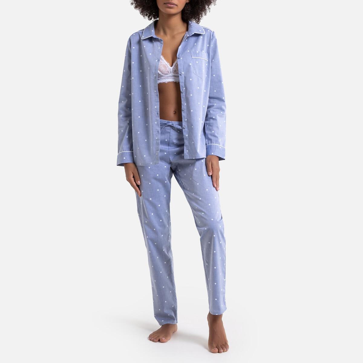 Pijama de tejido chambray estampado de lunares
