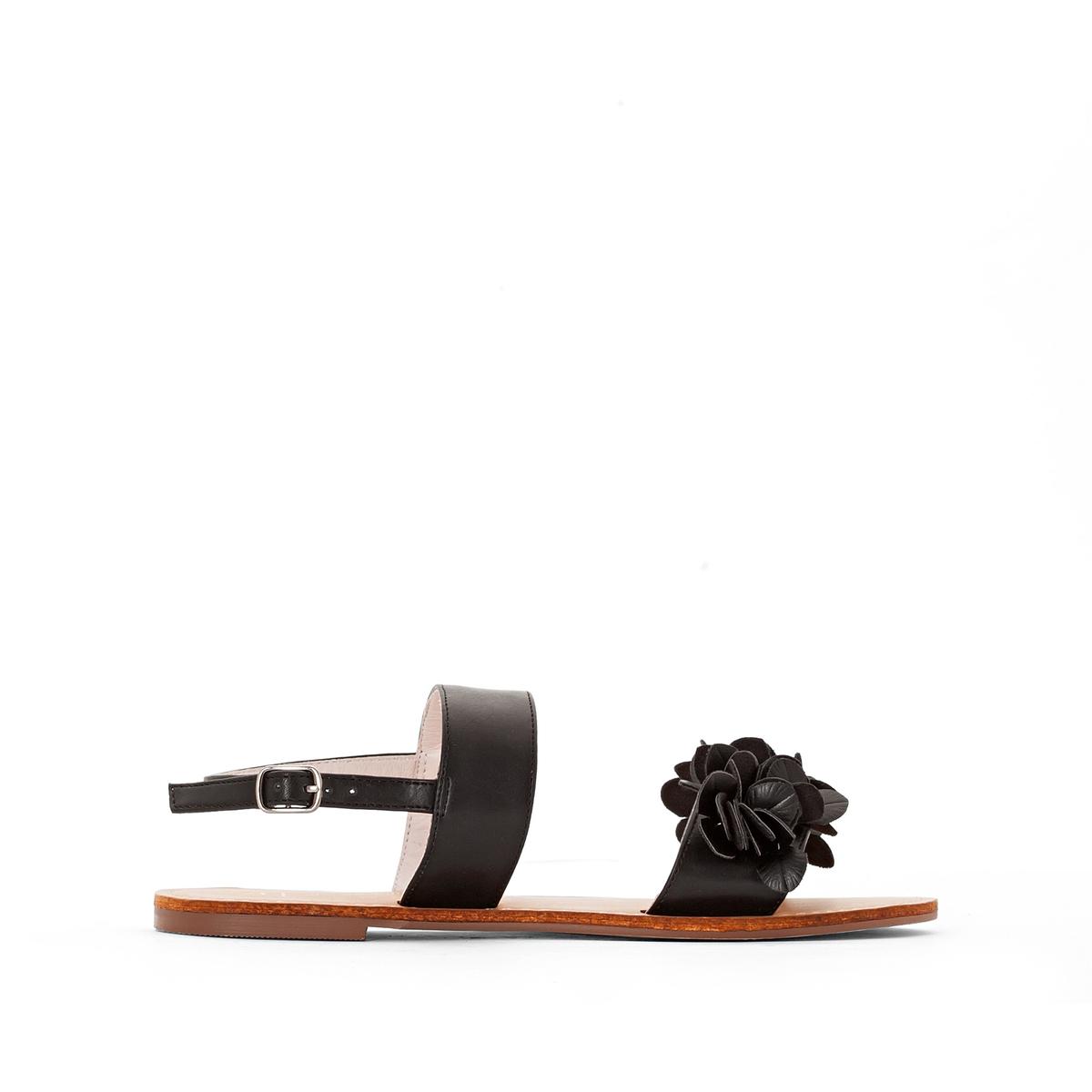 Сандалии синтетическиеОписание:Детали  •  Плоский каблук •  Застежка : ремешок/пряжка •  Открытый мысок •  Гладкая отделкаСостав и уход  •  Верх 100% синтетический материал •  Подкладка 100% кожа<br><br>Цвет: телесный,черный<br>Размер: 36.39