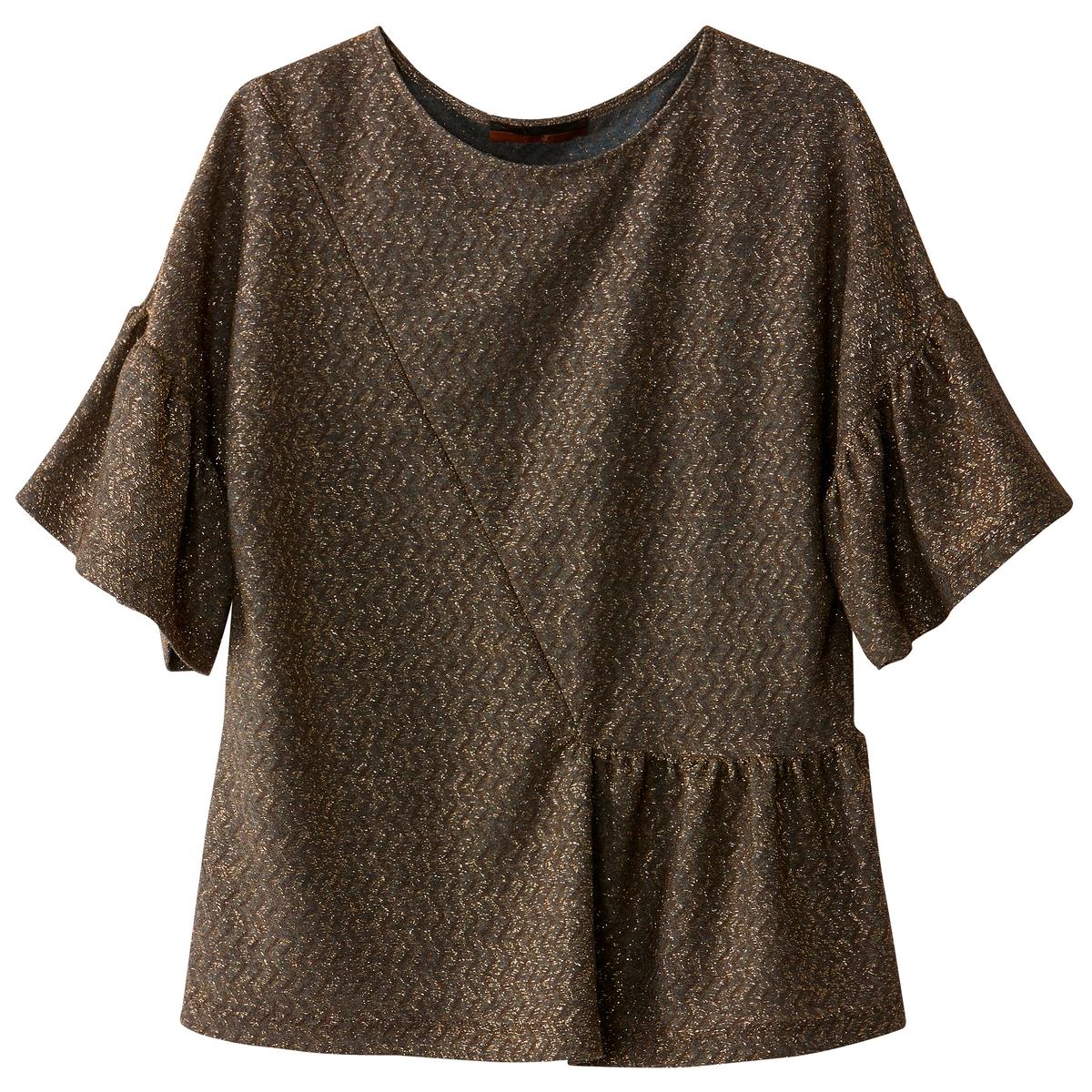 T-shirt brilhante, folho assimétrico