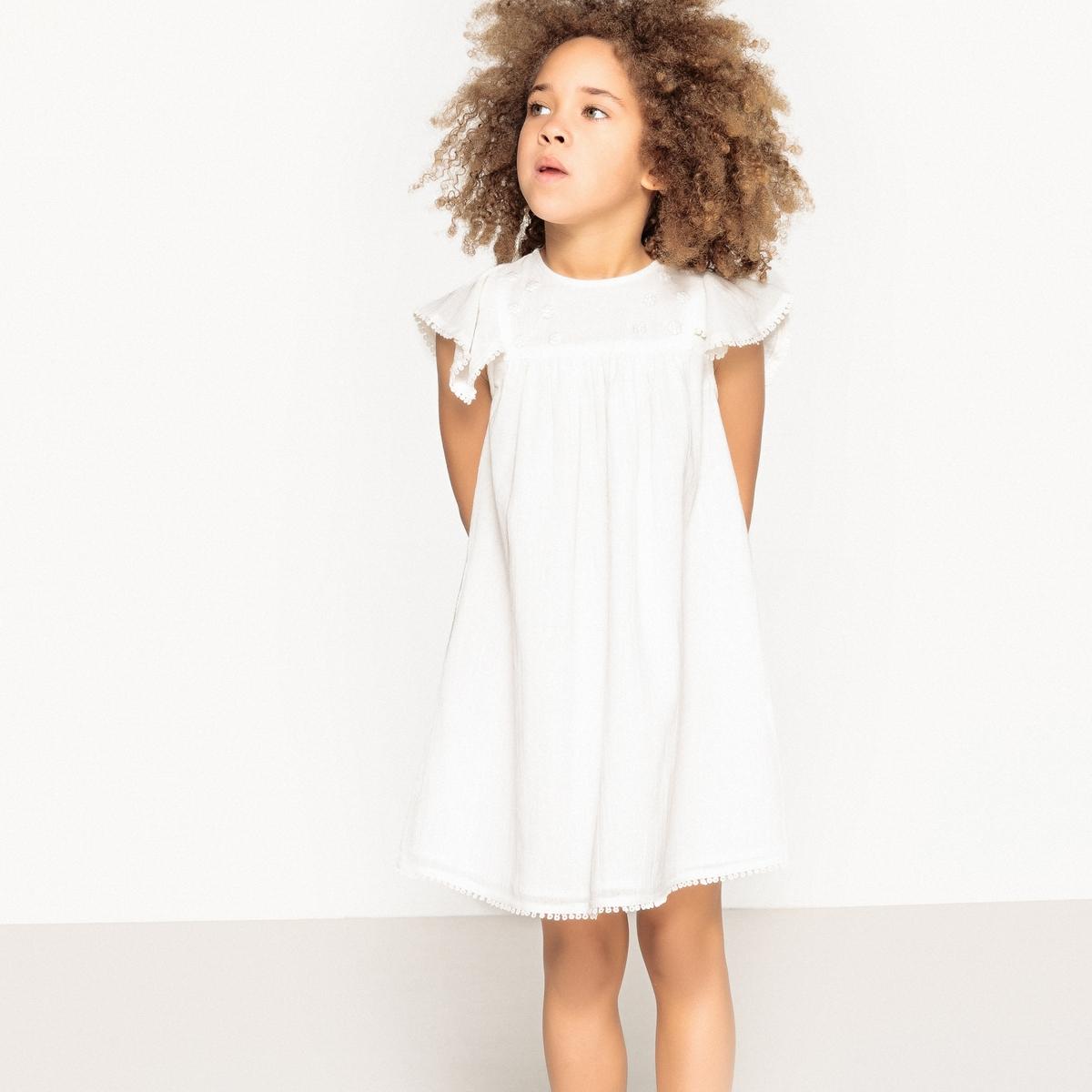 Платье с вышивкой и воланами на рукавах, 3-12 лет футболка с вышивкой и воланами 3 12 лет
