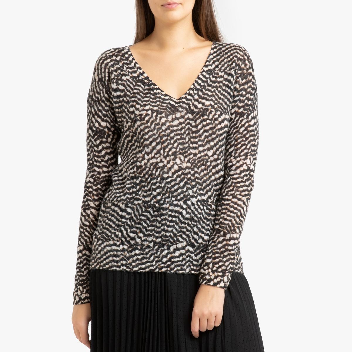 цена Пуловер La Redoute С v-образным вырезом из трикотажа с принтом M разноцветный онлайн в 2017 году