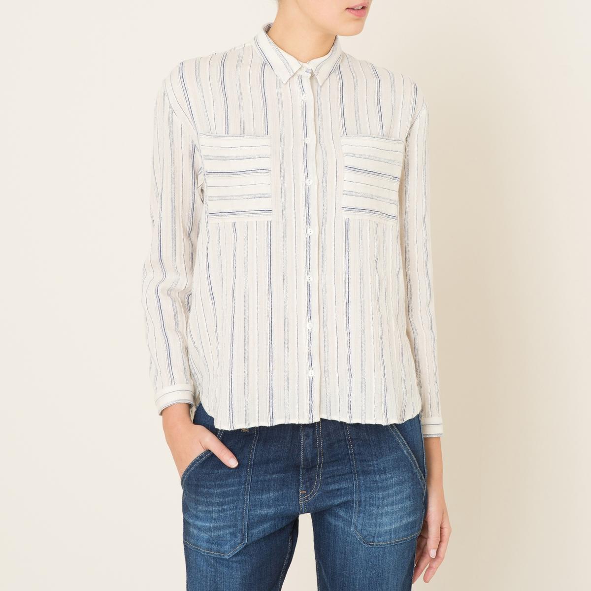 Рубашка в полоскуСостав и описание    Материал : 99% хлопка, 1% люрекса    Марка : HARRIS WILSON<br><br>Цвет: экрю/ темно-синий