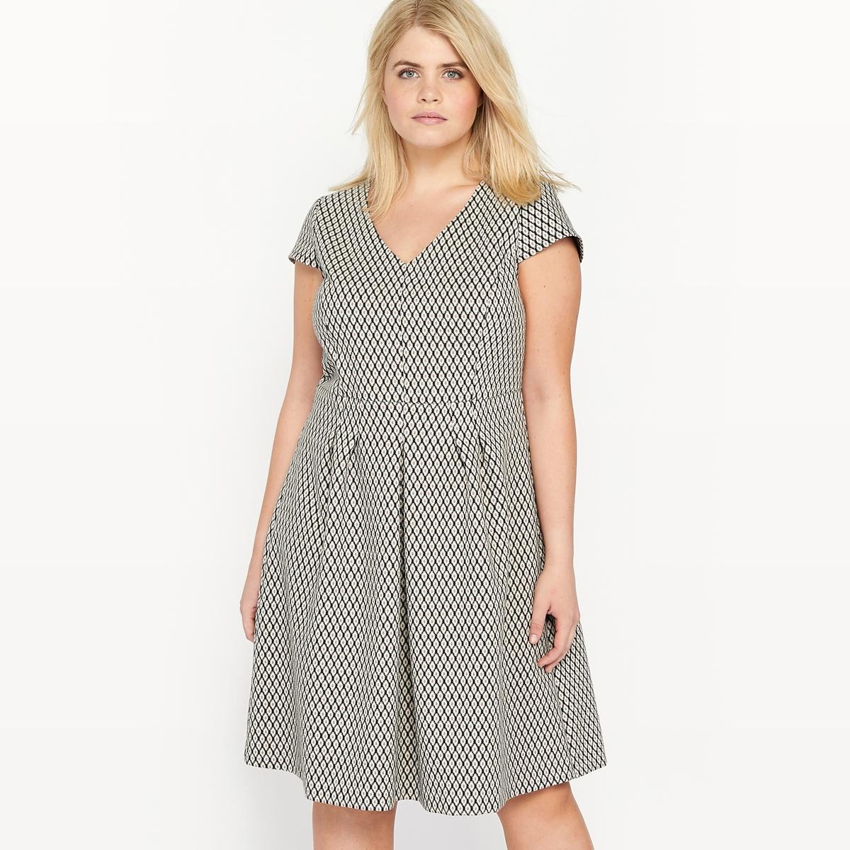 Платье расклешенное из жаккарда с короткими рукавами платье расклешенное с короткими рукавами