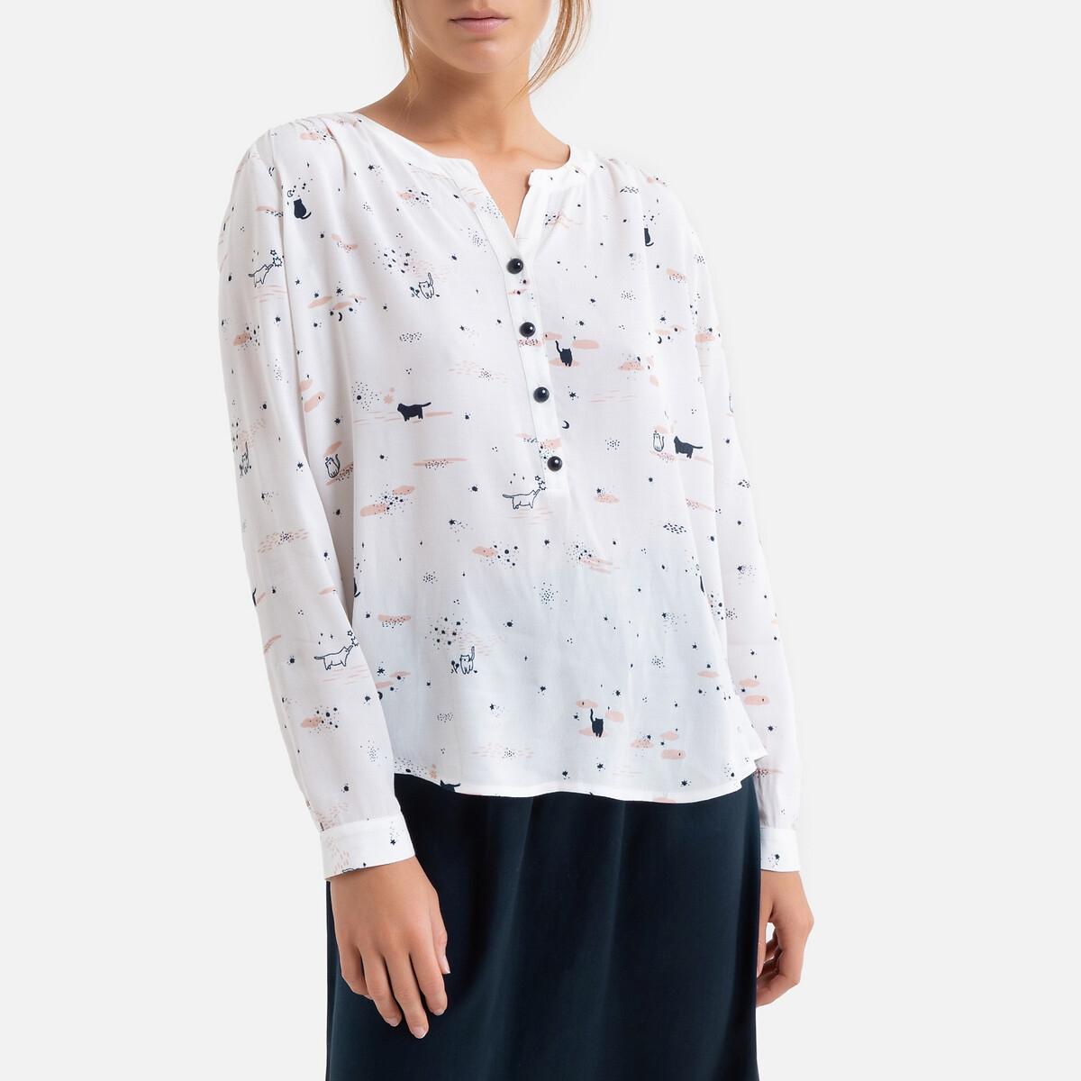 Фото - Блузка LaRedoute С рисунком с длинными рукавами 2(M) бежевый блузка с рисунком и длинными рукавами для периода беременности