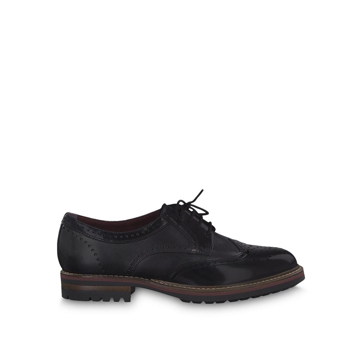 Ботинки-дерби La Redoute Кожаные Jenna 41 черный цена