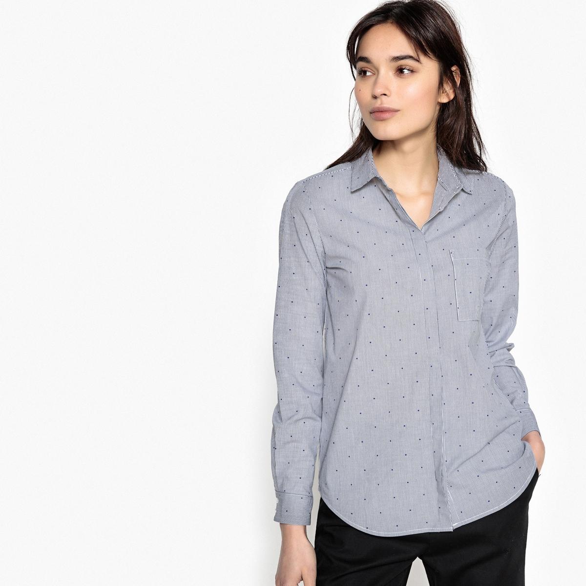 Рубашка приталенная с рисунком и воротником-поло