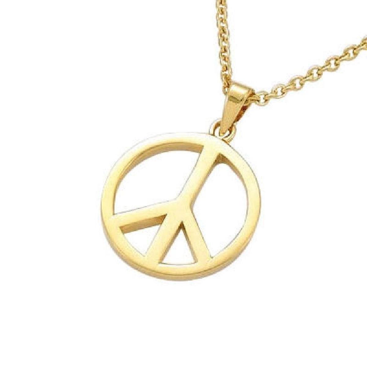 Pendentif Peace and Love Plaqué Or 750 (Vendu seul: sans chaîne présentée)