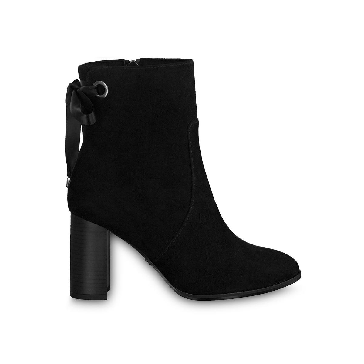 цена Ботильоны La Redoute Кожаные на каблуке Francesca 41 черный онлайн в 2017 году