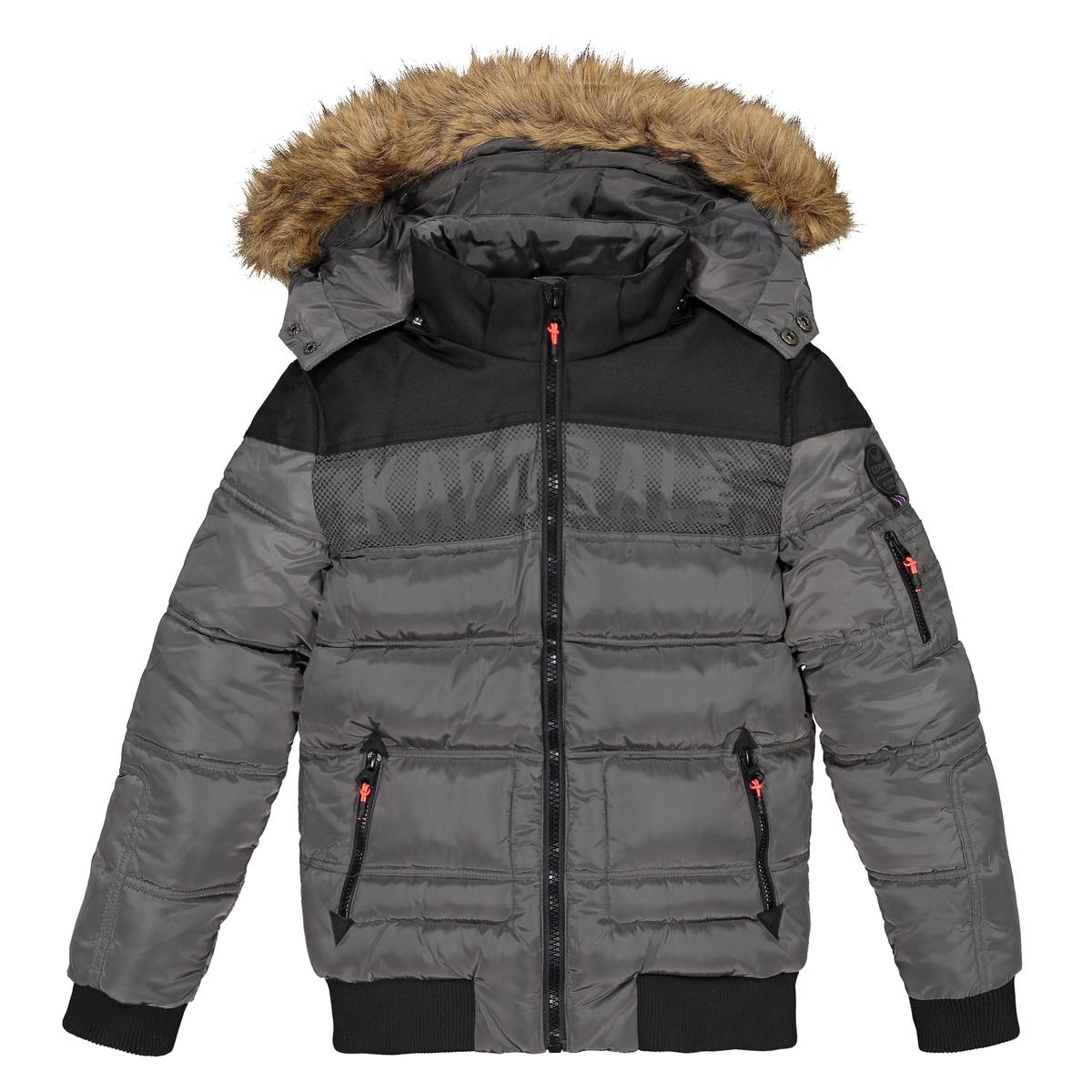 Куртка La Redoute Стеганая с капюшоном 16 лет - 174 см серый пуховая стеганая куртка с капюшоном
