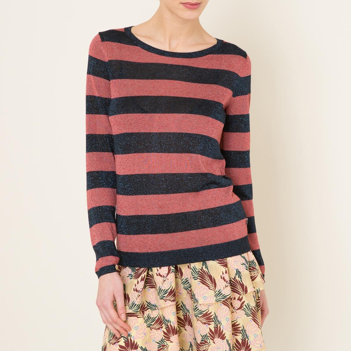 Пуловер с металлизированным эффектомСостав и описание    Материал : 90% вискозы, 10% полиэстераМарка : MAISON SCOTCH<br><br>Цвет: розовый/ черный