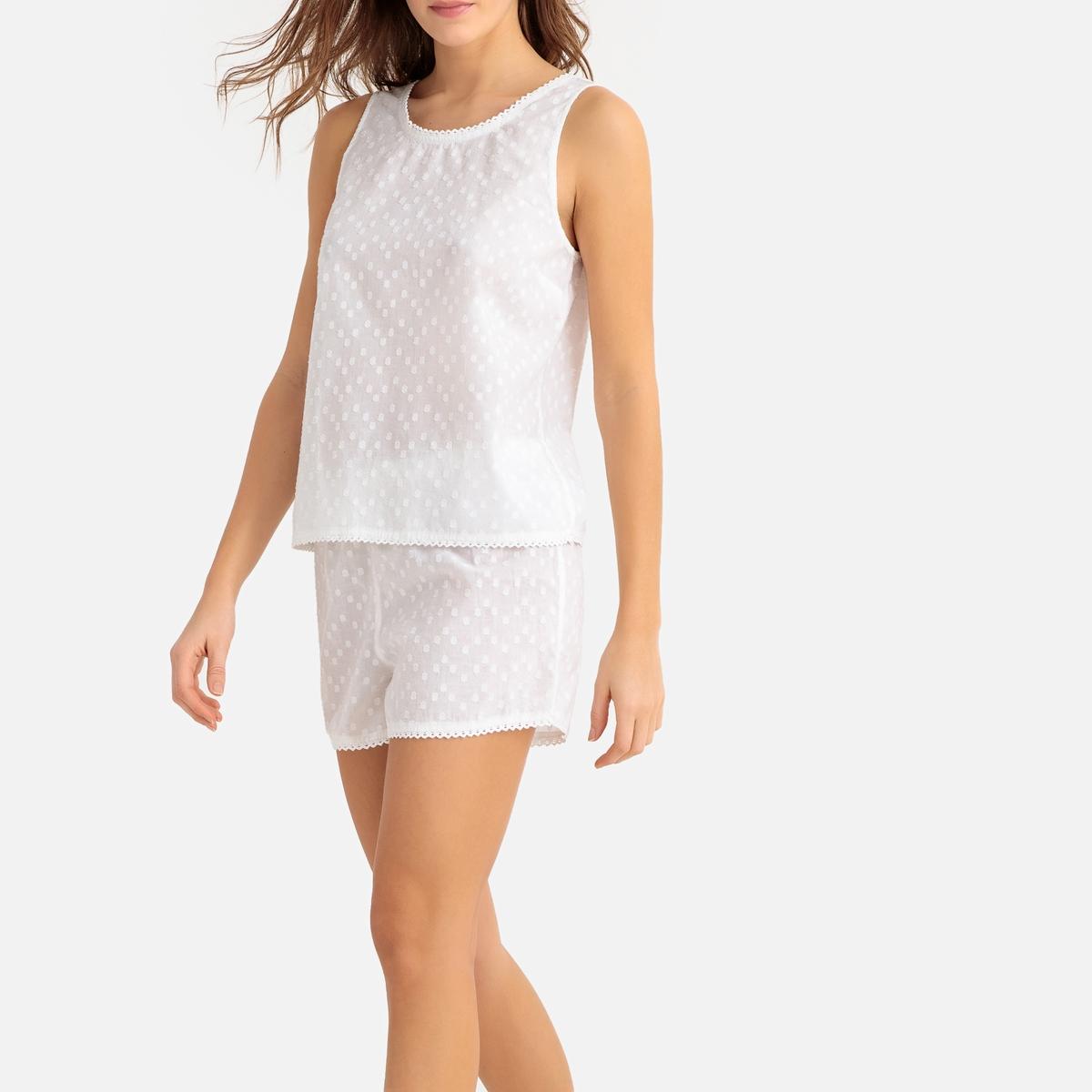 Pijama con short de algodón plumetis
