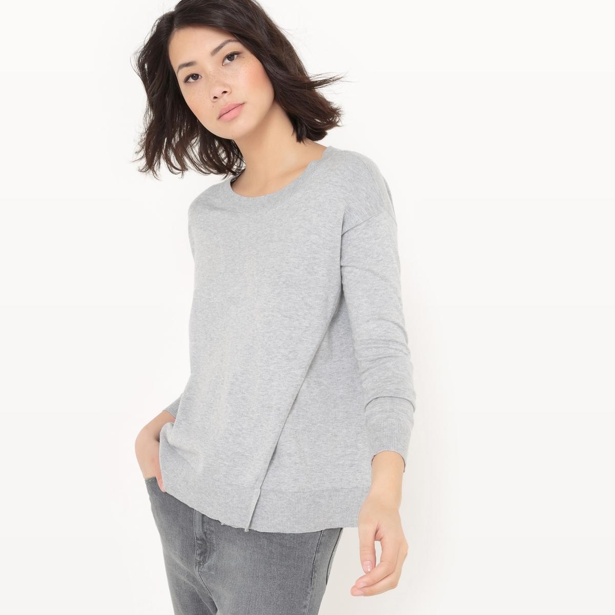 Пуловер с круглым вырезом из хлопка/шелка пуловер с круглым вырезом из хлопка и льна