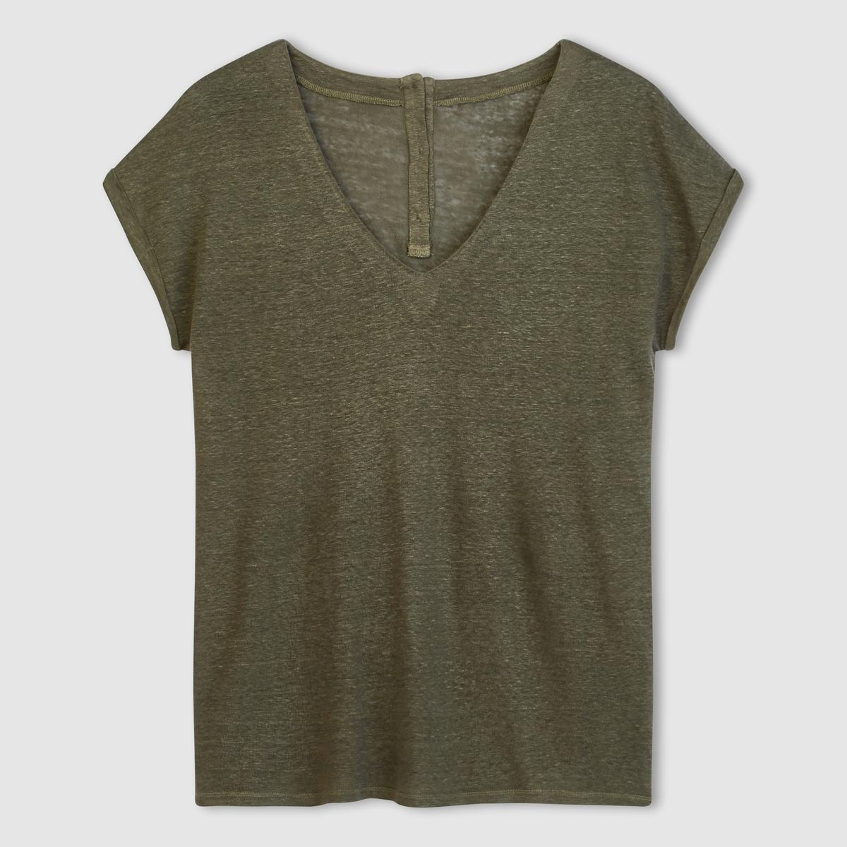 T-shirt em linho, decote em V