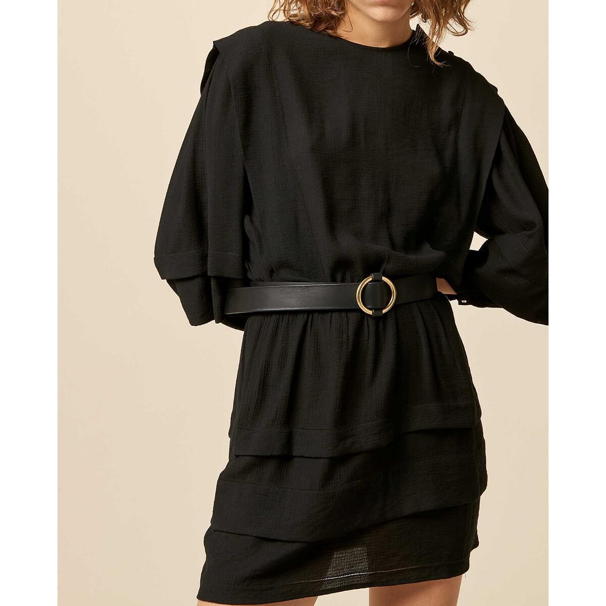 Платье LaRedoute Прямое укороченное с рукавами 34 L черный