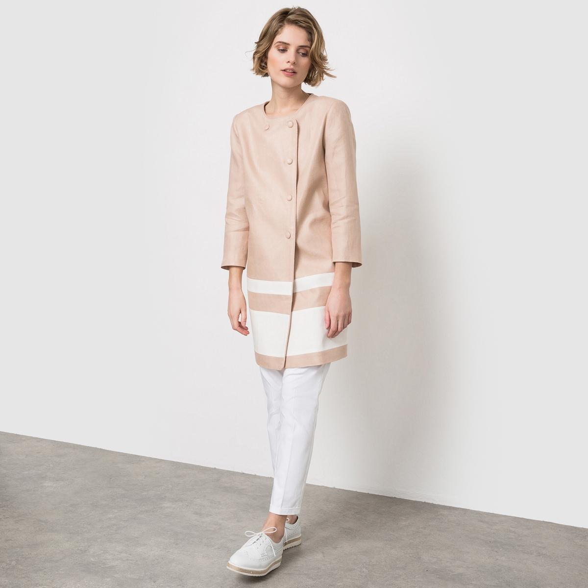 Пальто из льна с круглым вырезом