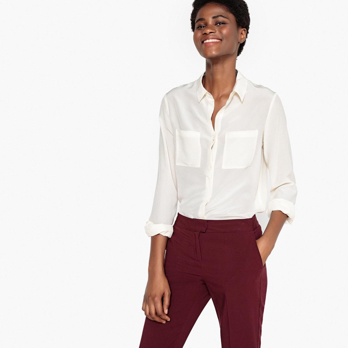 Рубашка из шелка с длинными рукавами