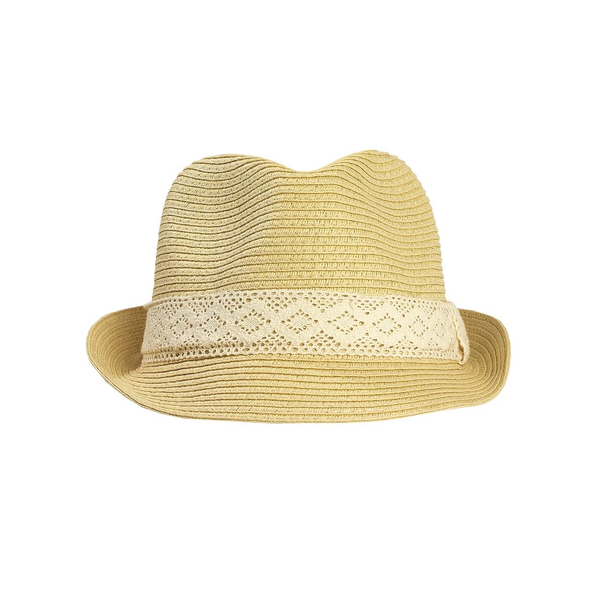 Шляпа-борсалино  соломеннаяСоломенная шляпа-борсалино, Mademoiselle R.Борсалино- модная тенденция, : воплощенная в  этой летней модели  из соломы и  украшенная симпатичным кружевным галуном .   Состав и описание :Материал : 100% соломыМарка : Mademoiselle R.Размеры : окружность головы 56 см отделка кружевным галуном<br><br>Цвет: серо-бежевый<br>Размер: единый размер