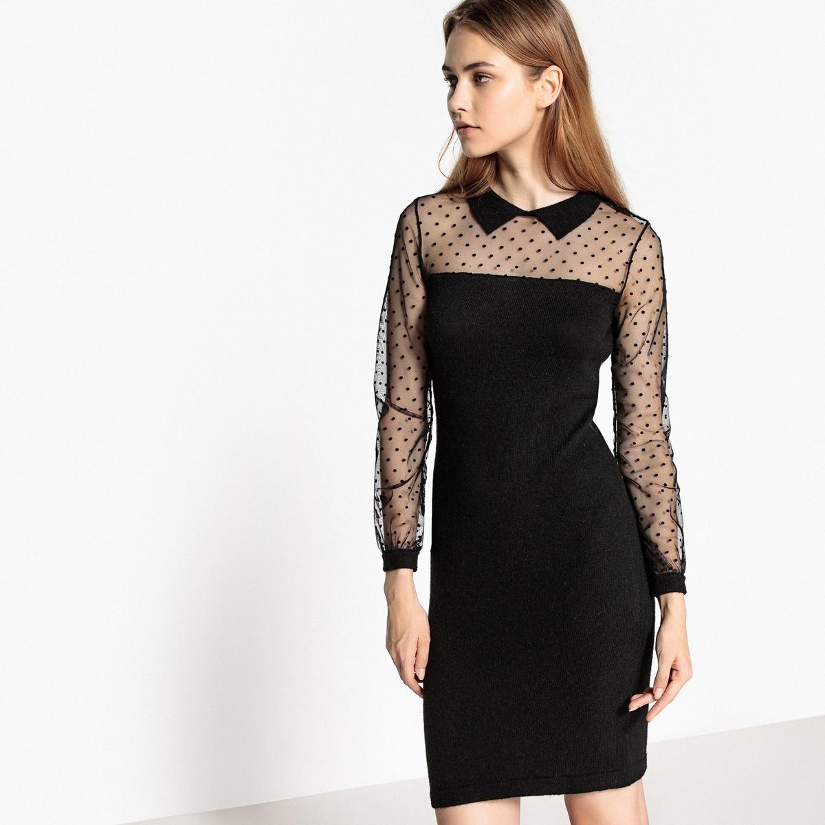 Платье трикотажное с прозрачными рукавами и воротником