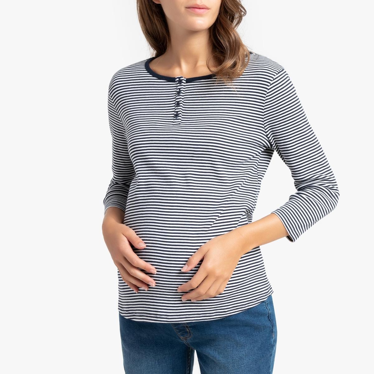 Футболка La Redoute Для периода беременности с длинными рукавами в полоску S белый платье la redoute из трикотажа для периода беременности s другие