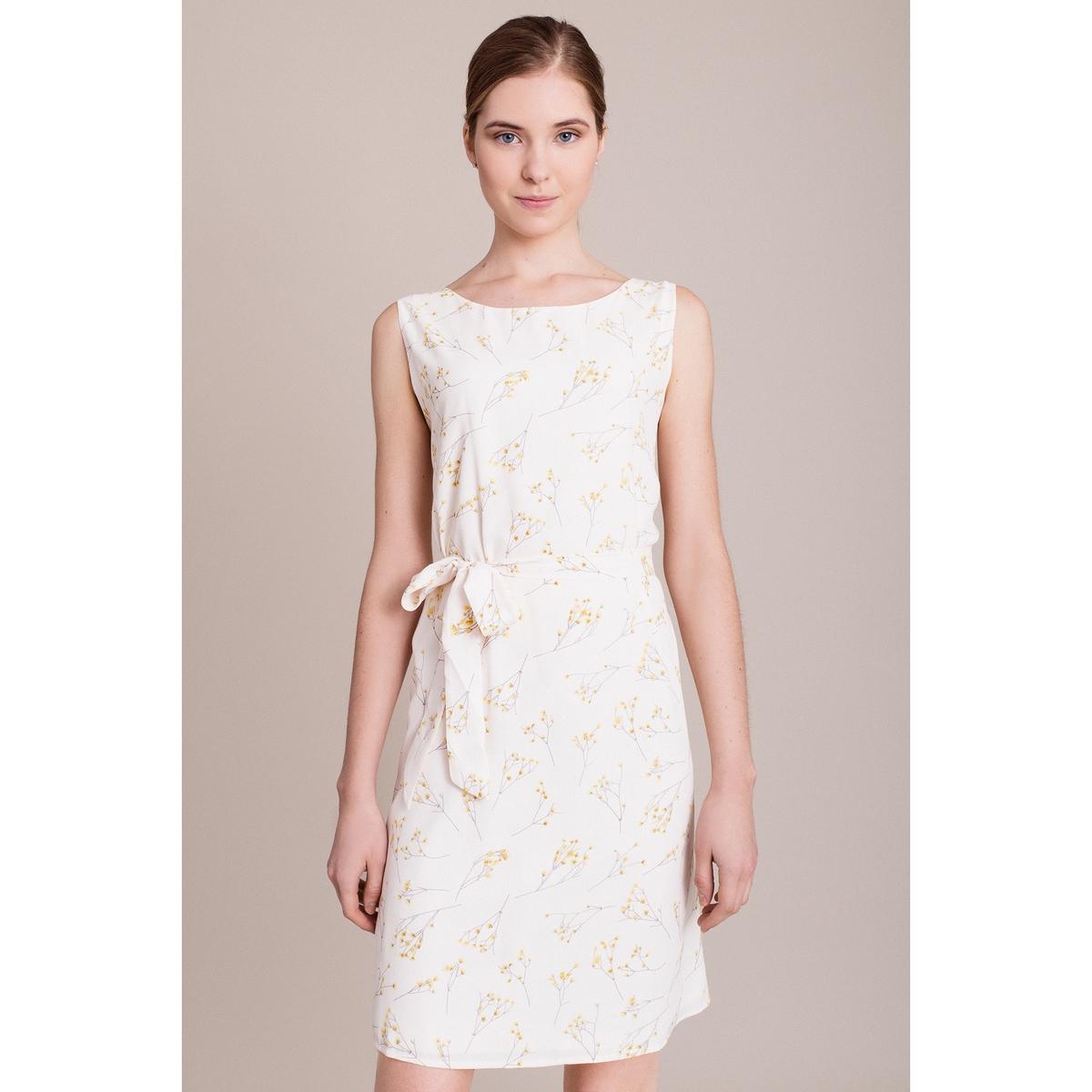 Платье с рисунком без рукавовХарактеристики и описание    Материал         100% полиэстера        Марка    MIGLE+ME<br><br>Цвет: экрю/рисунок<br>Размер: M