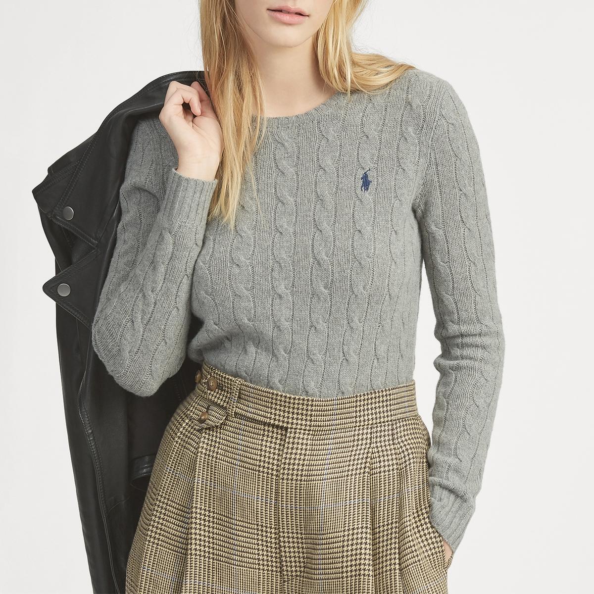 Пуловер La Redoute С круглым вырезом из трикотажа с узором косы L серый