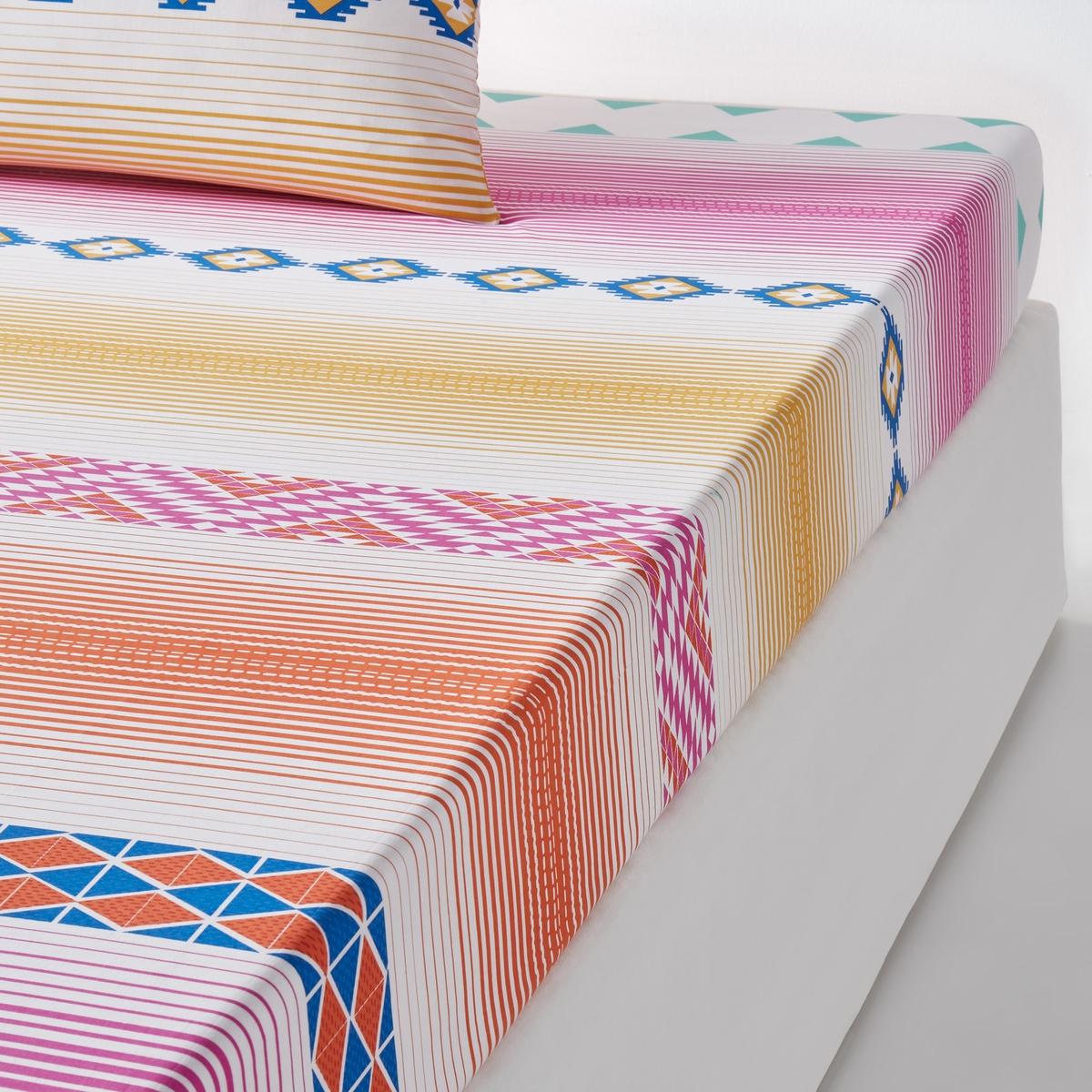 Простыня натяжная, 100% хлопок, BrazosХарактеристики натяжной простыни из 100% хлопка Brazos : Натяжная простыня с рисунком в разноцветную полоску.100% хлопок, 57 нитей/см? : чем больше нитей/см?, тем выше качество ткани.Легкость ухода.Клапан 25 см.Машинная стирка при 60 °С.Откройте для себя всю коллекцию постельного белья Brazos на сайте laredoute.ru Знак Oeko-Tex® гарантирует, что товары прошли проверку и были изготовлены без применения вредных для здоровья человека веществ.Размеры :90 x 190 см : 1-сп.140 x 190 см : 2-сп.160 x 200 см : 2-сп.180 x 200 см : 2-сп<br><br>Цвет: набивной рисунок<br>Размер: 180 x 200  см