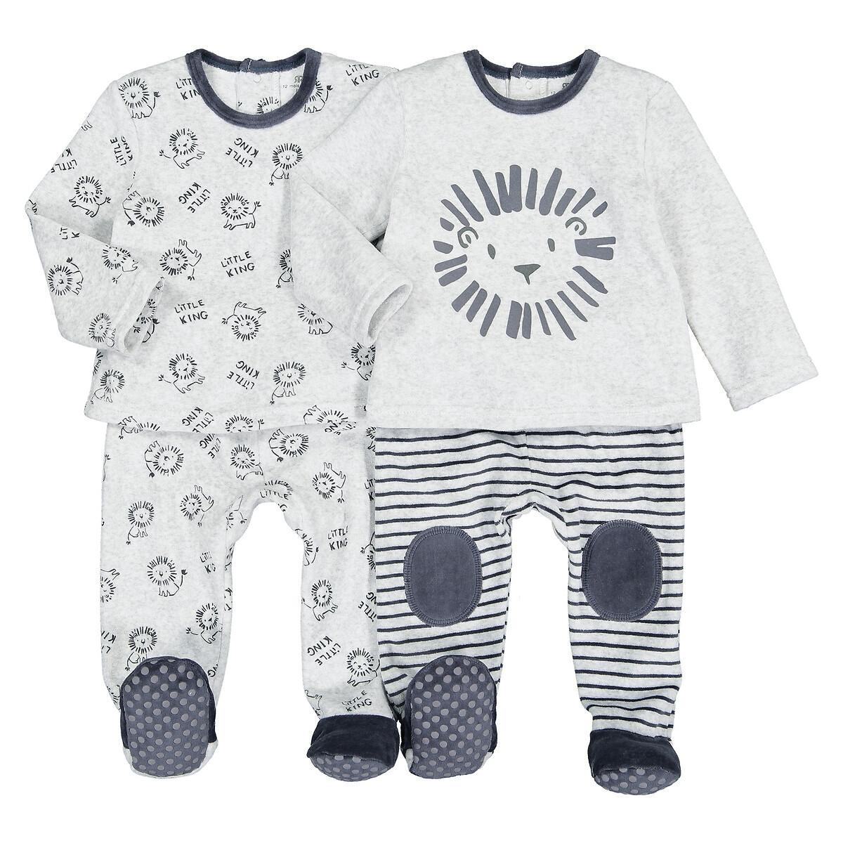 Комплект из 2 раздельных пижам LaRedoute Из велюра 1 мес-4 лет 3 мес. - 60 см серый пижама laredoute с носочками из велюра 0 мес 3 года 3 мес 60 см серый
