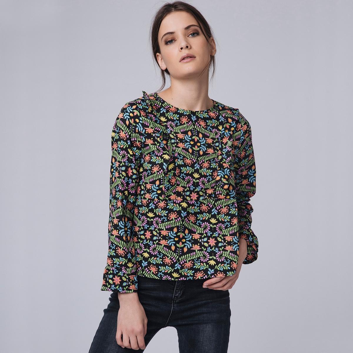 Блузка с круглым вырезом, цветочным рисунком и длинными рукавами