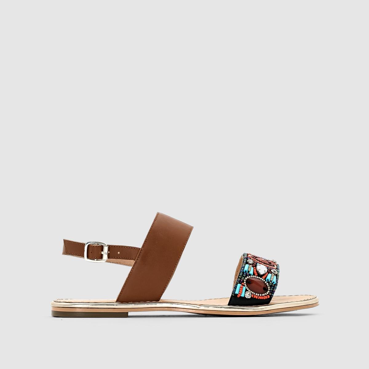 Сандалии R ESSENTIELПреимущества:   : Оригинальные сандалии от R ESSENTIEL  в этническом стиле с бусинками и оригинальными разноцветными украшениями, а также с широким ремешком на подъёме.<br><br>Цвет: темно-бежевый<br>Размер: 37.41.36