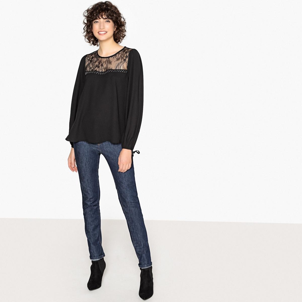 Imagen secundaria de producto de Blusa con cuello de encaje y cordones en los bajos - Pepe Jeans