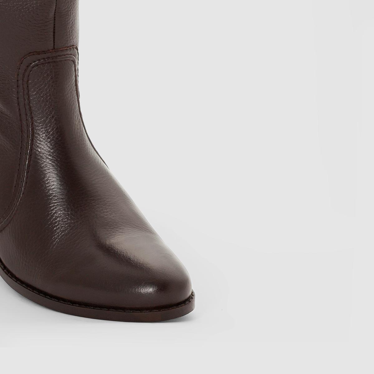 Сапоги из кожиВерх/Голенище : кожа               Подкладка : кожа       Стелька : кожа       Подошва : эластомер   Форма каблука : плоский каблук    Мысок : закругленный       Застежка : на молнию<br><br>Цвет: шоколадный<br>Размер: 38
