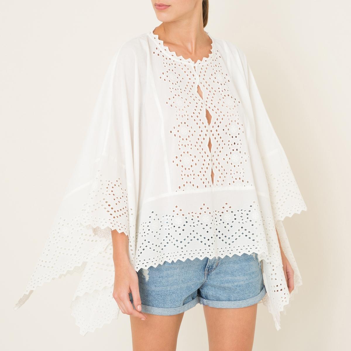 Блузка-пончо с английским шитьем