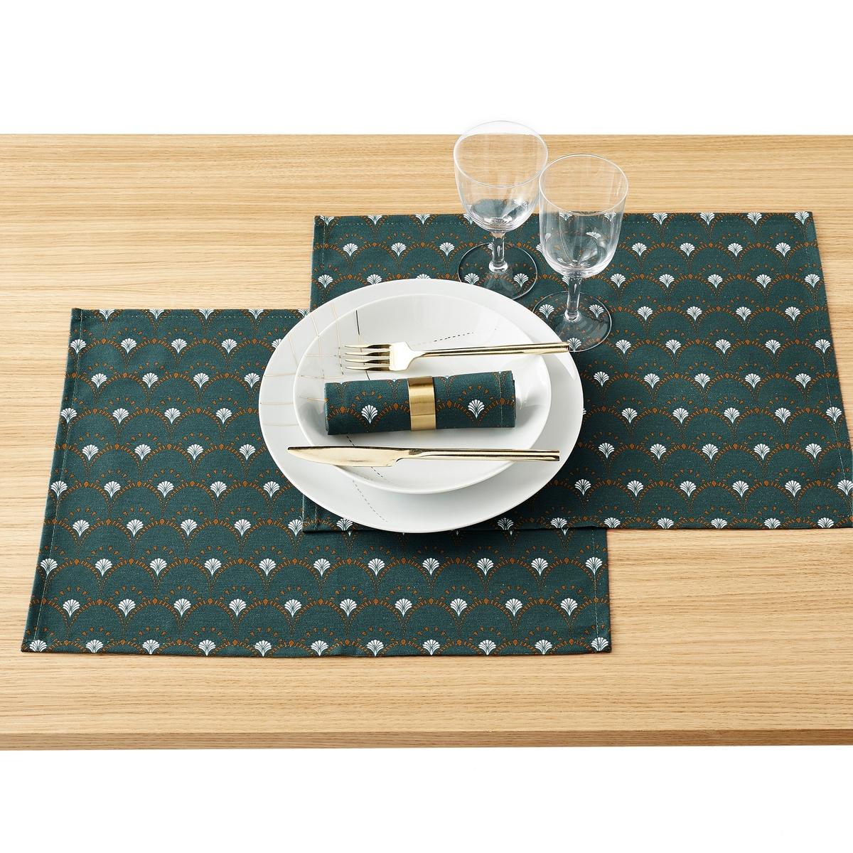 купить Комплект из салфеток под приборы La Redoute Mina vert единый размер зеленый дешево