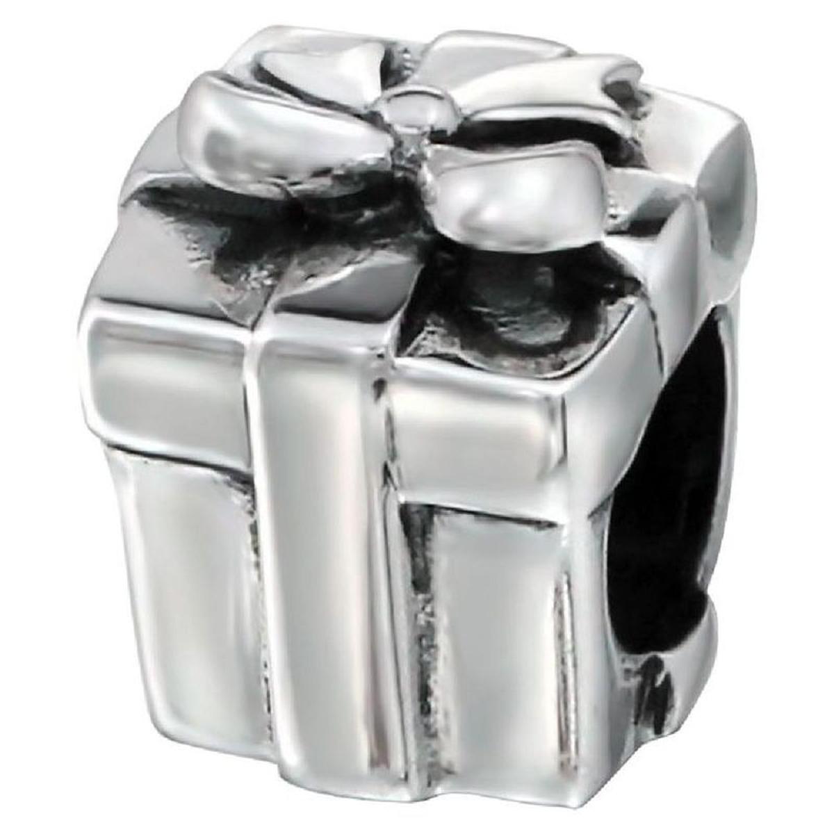 Charm Paquet Cadeau Noeud Ruban - Charms Compatibles Pandora, Trollbeads, Chamilia, Biagi - Argent 925